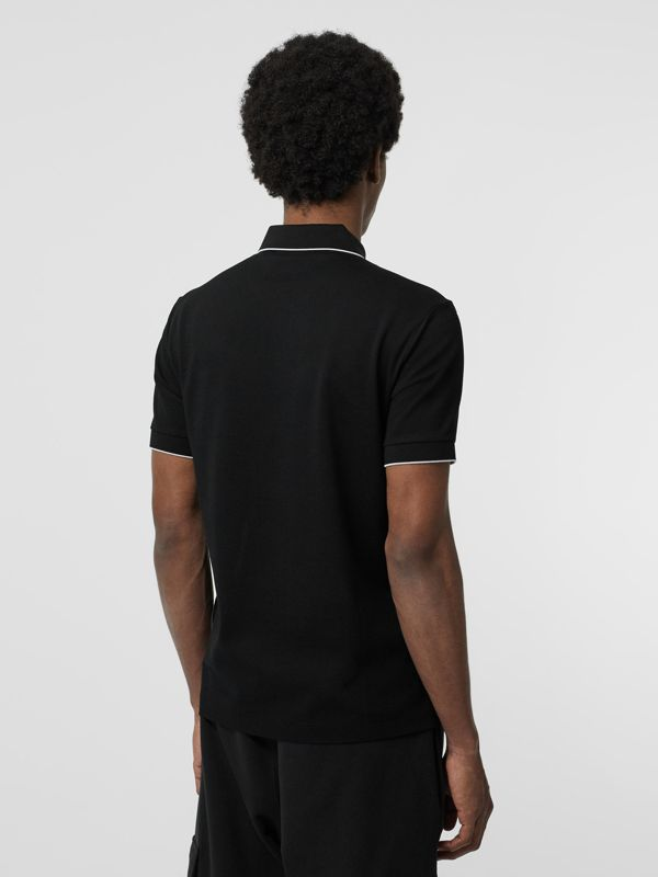 Tipped Cotton Piqué Polo Shirt in Black - Men | Burberry Canada - cell image 2