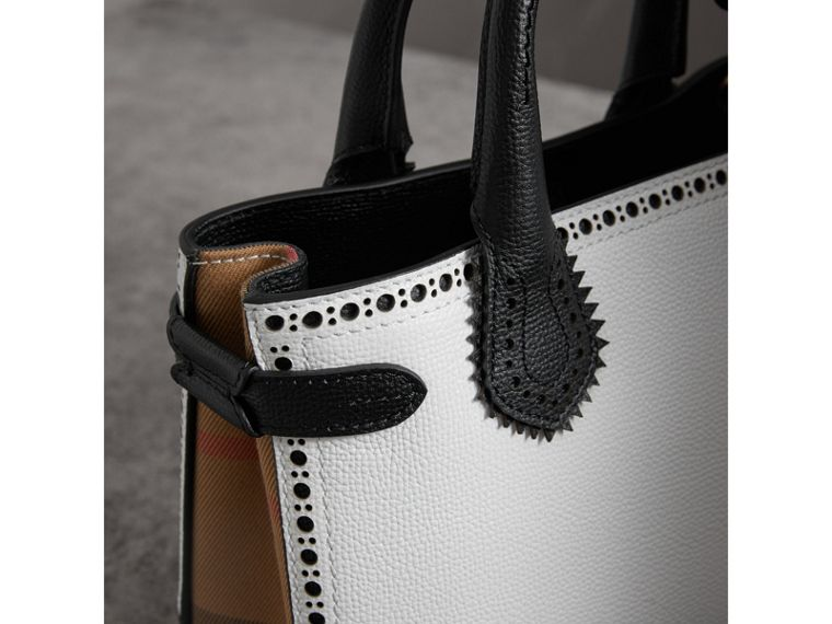 The Small Banner in Brogue Detail Two-tone Leather in Chalk White/black - Women | Burberry - cell image 1