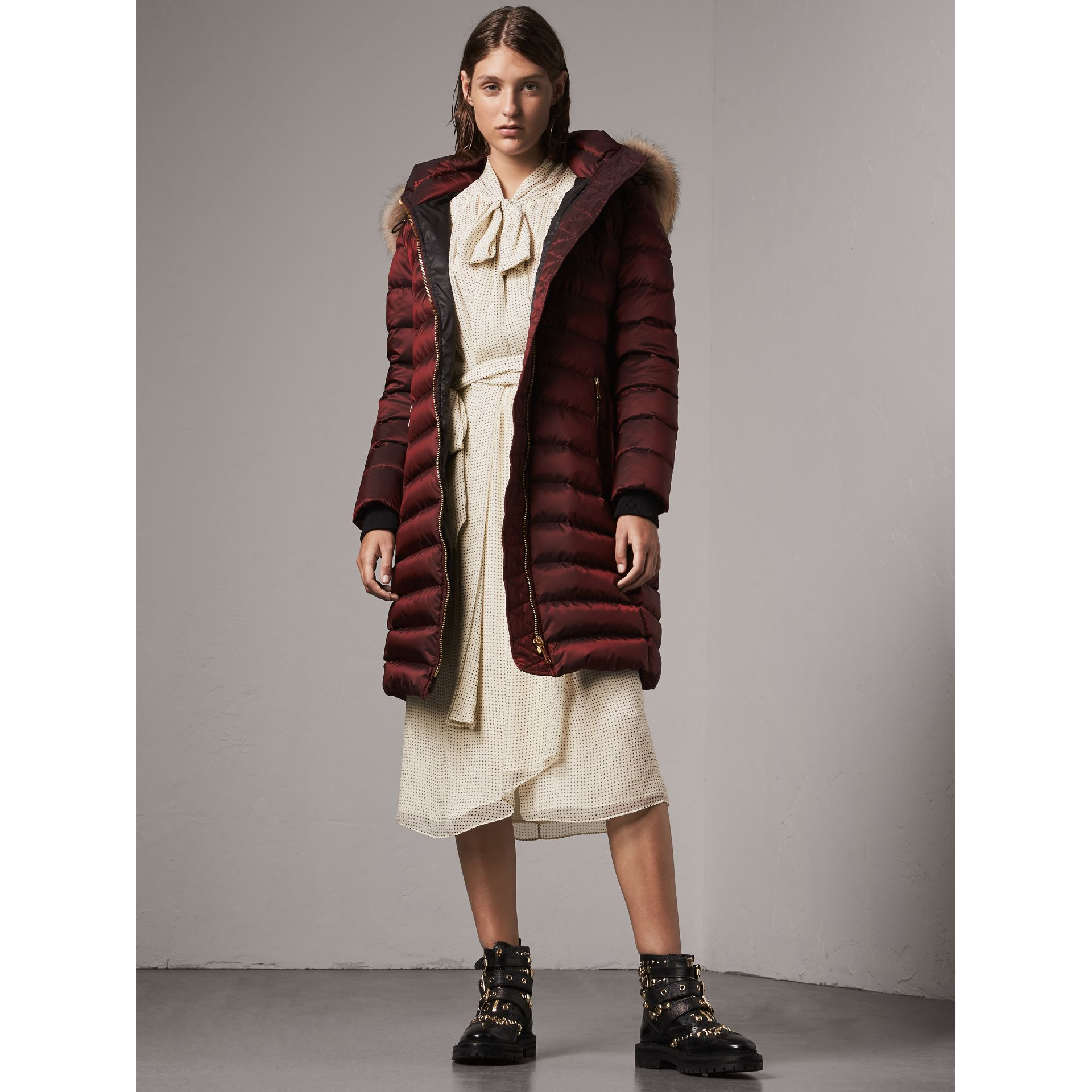 Detachable Fur Trim Down-filled Puffer Coat with Hood in Burgundy - Women | Burberry - gallery image 1