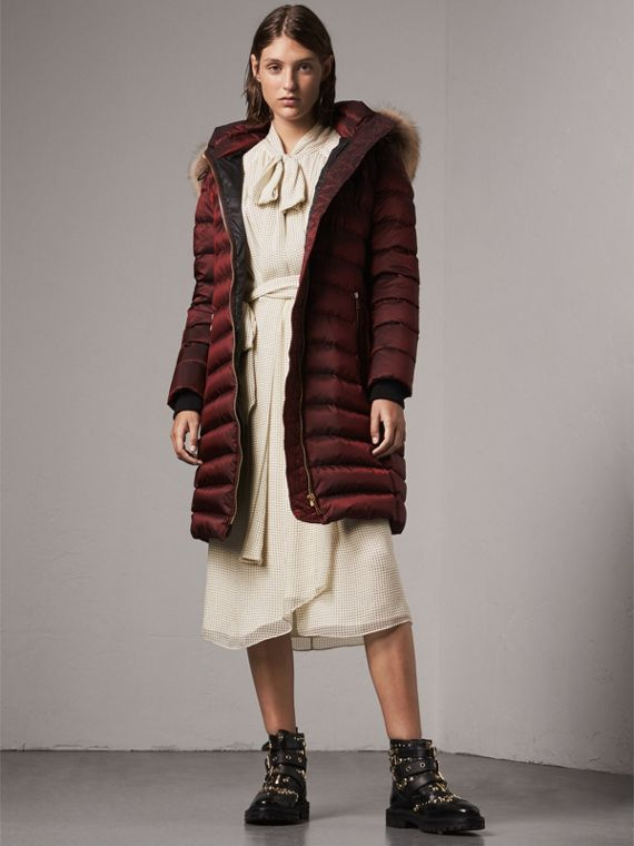 Detachable Fur Trim Down-filled Puffer Coat with Hood in Burgundy