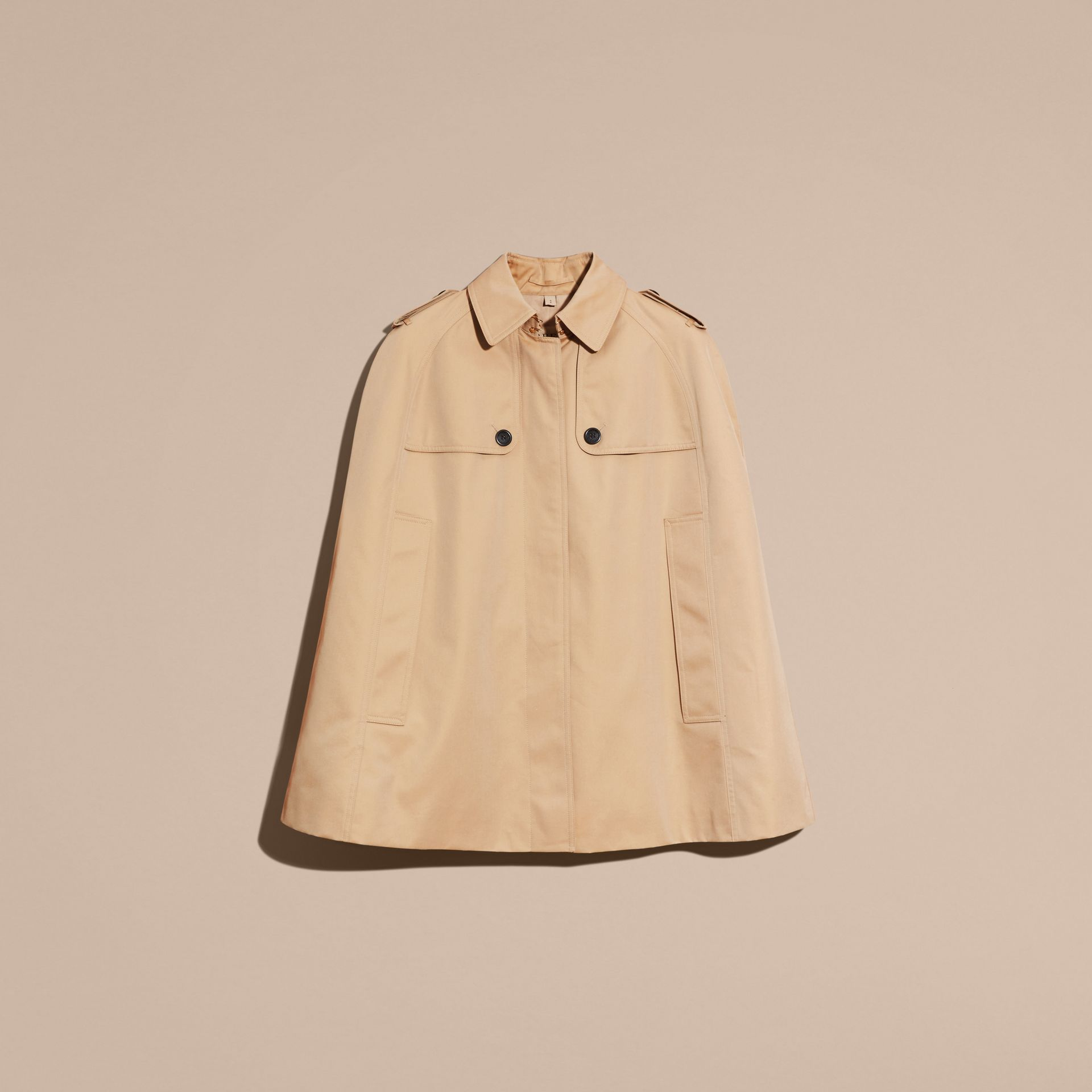 Honey Cotton Gabardine Trench Cape Honey - gallery image 4