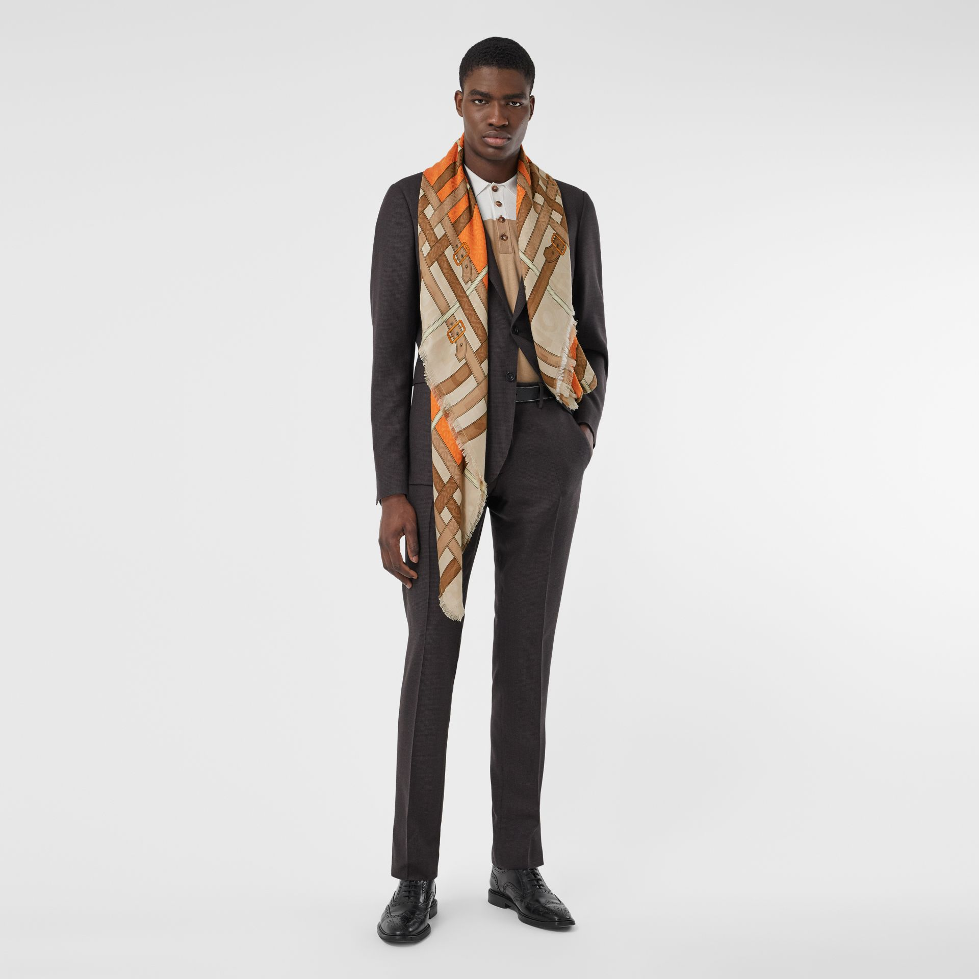 Archive Scarf Print Silk Wool Large Square Scarf in Bright Orange | Burberry - gallery image 6