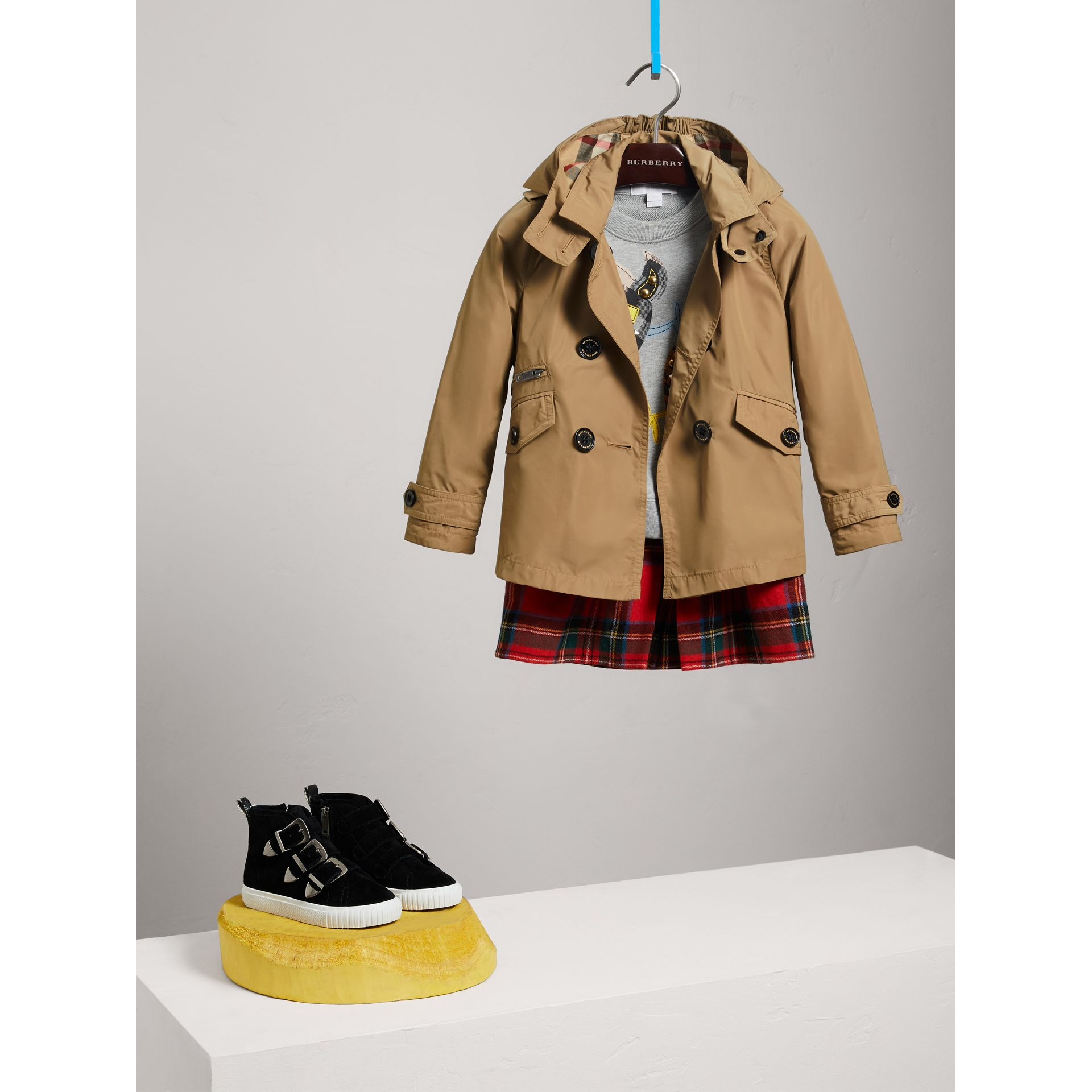 Detachable Hood Shape-memory Taffeta Trench Coat in Honey - Children | Burberry - gallery image 2