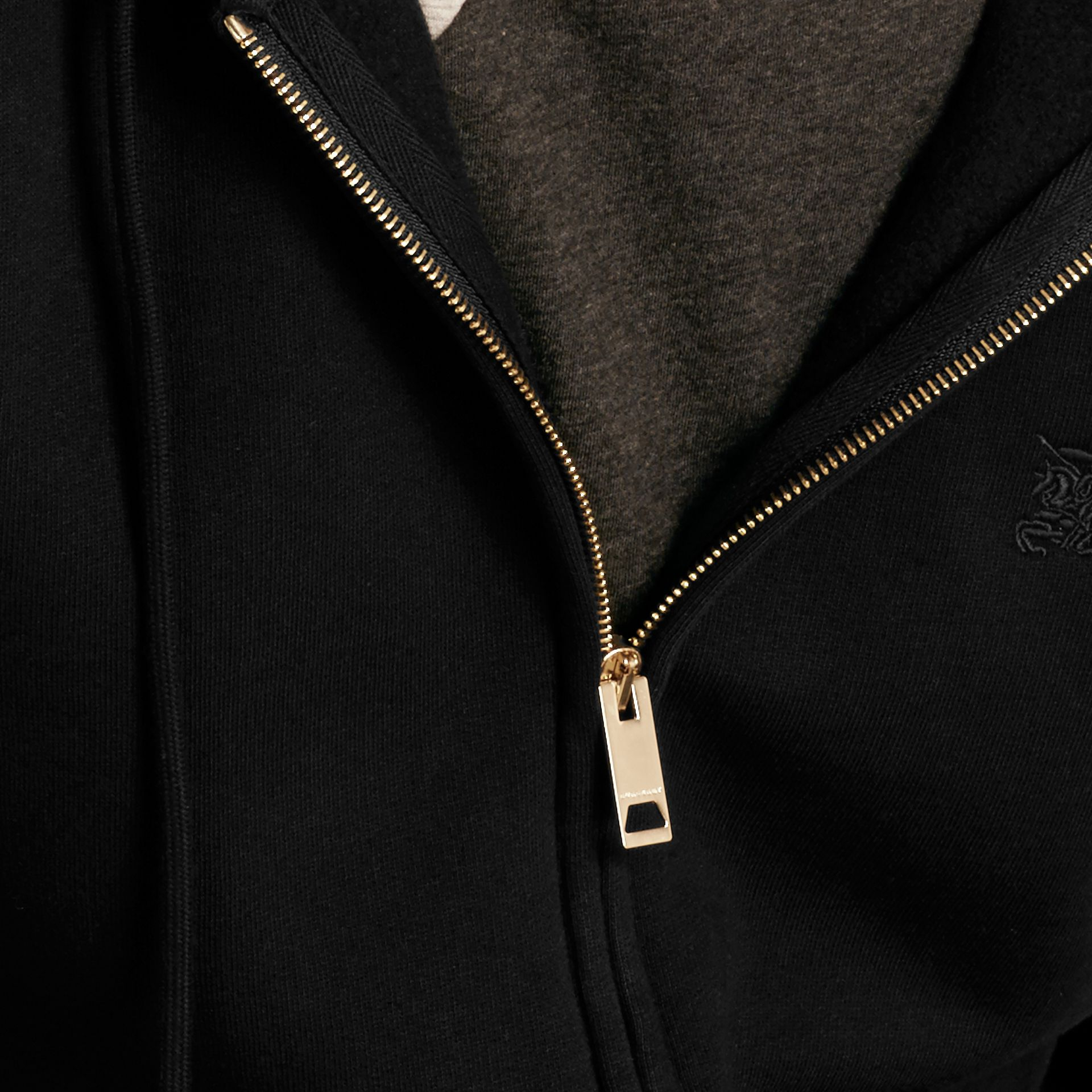 Hooded Cotton Jersey Top Black - gallery image 2