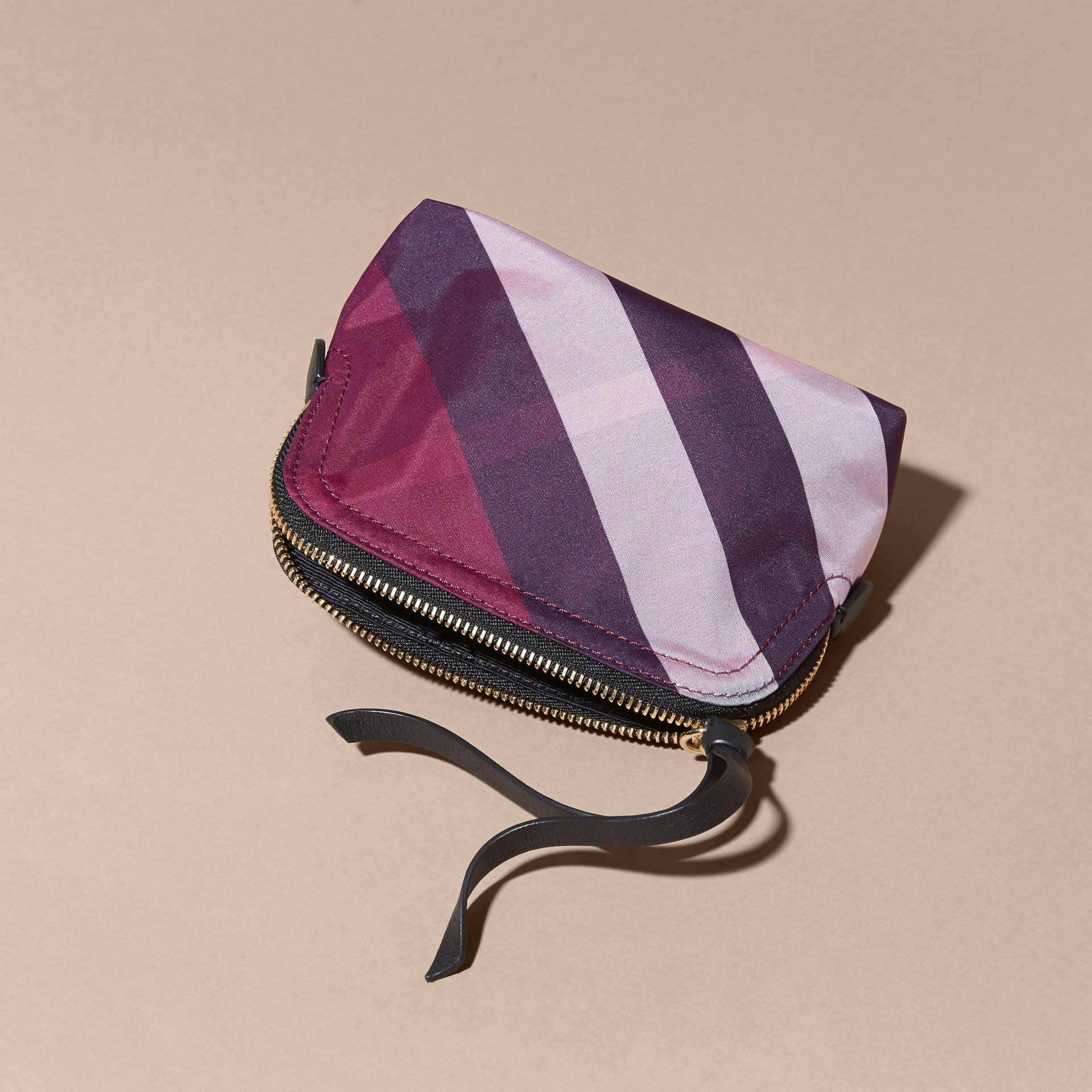 Small Zip-top Check Pouch Plum - gallery image 3