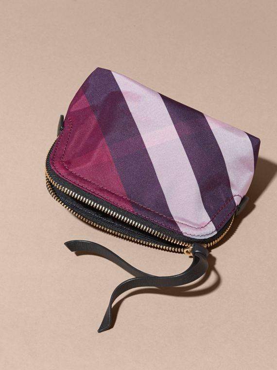 Small Zip-top Check Pouch Plum - cell image 2