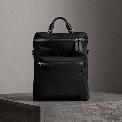 BURBERRY Wasserabweisender Rucksack Mit Lederbesatz Und Reißverschluss, Black