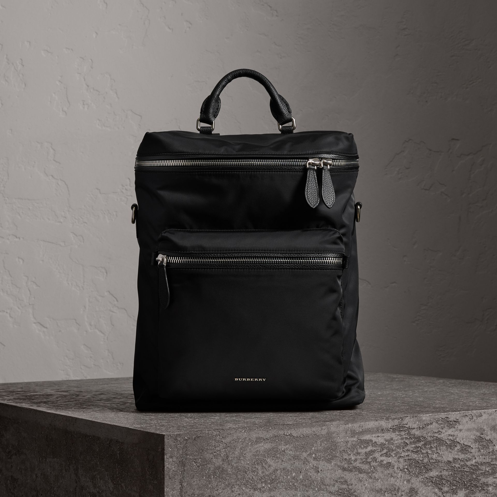 Zip-top Leather Trim Showerproof Backpack in Black - Men | Burberry United States - gallery image 0