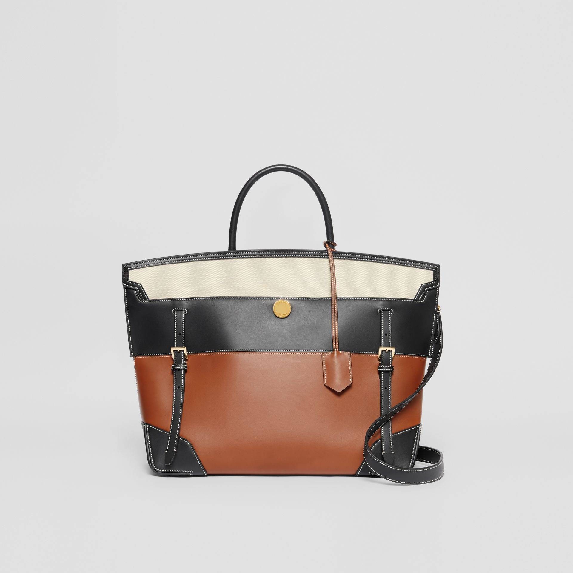 Tri-tone Leather and Canvas Society Top Handle Bag in Tan/black - Women | Burberry - gallery image 0
