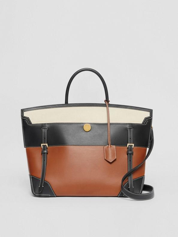 Tri-tone Leather and Canvas Society Top Handle Bag in Tan/black