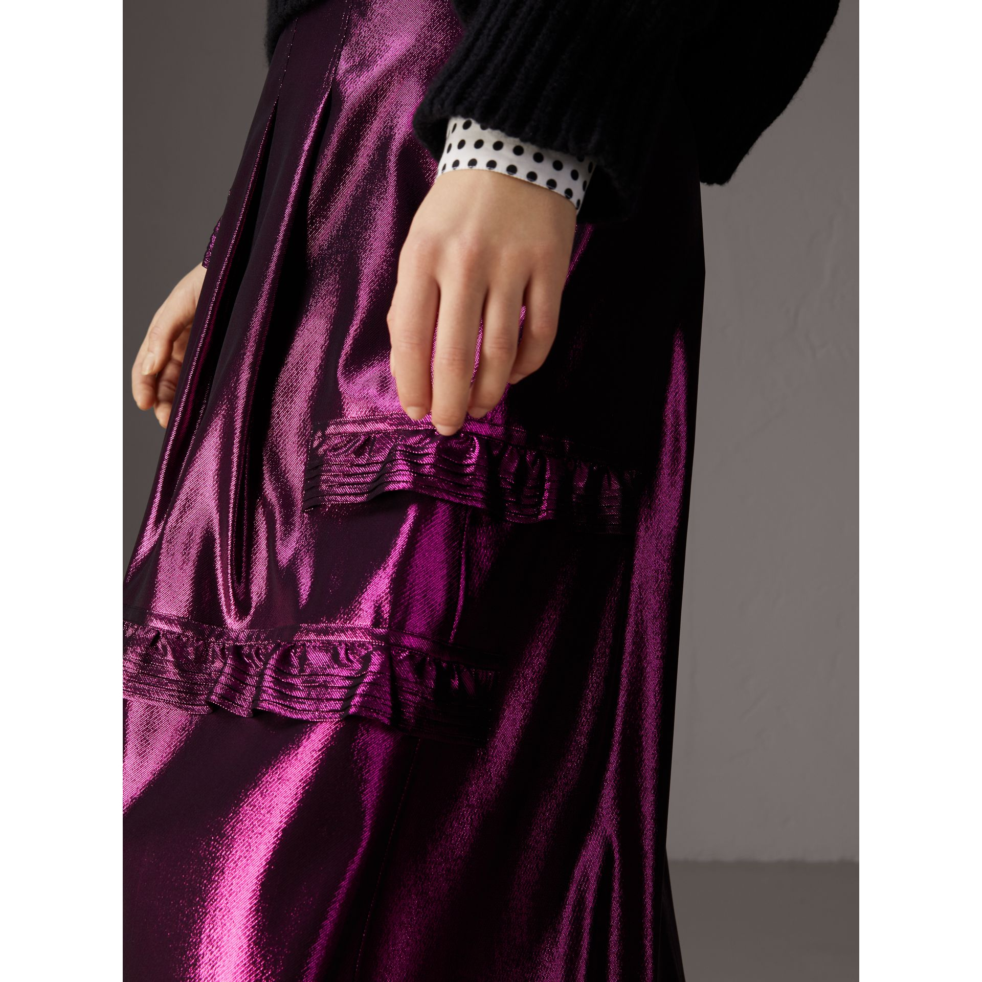Ruffle Detail Lamé Skirt in Bright Fuchsia - Women | Burberry United Kingdom - gallery image 1
