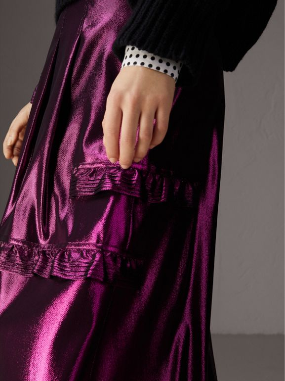 Ruffle Detail Lamé Skirt in Bright Fuchsia - Women | Burberry - cell image 1