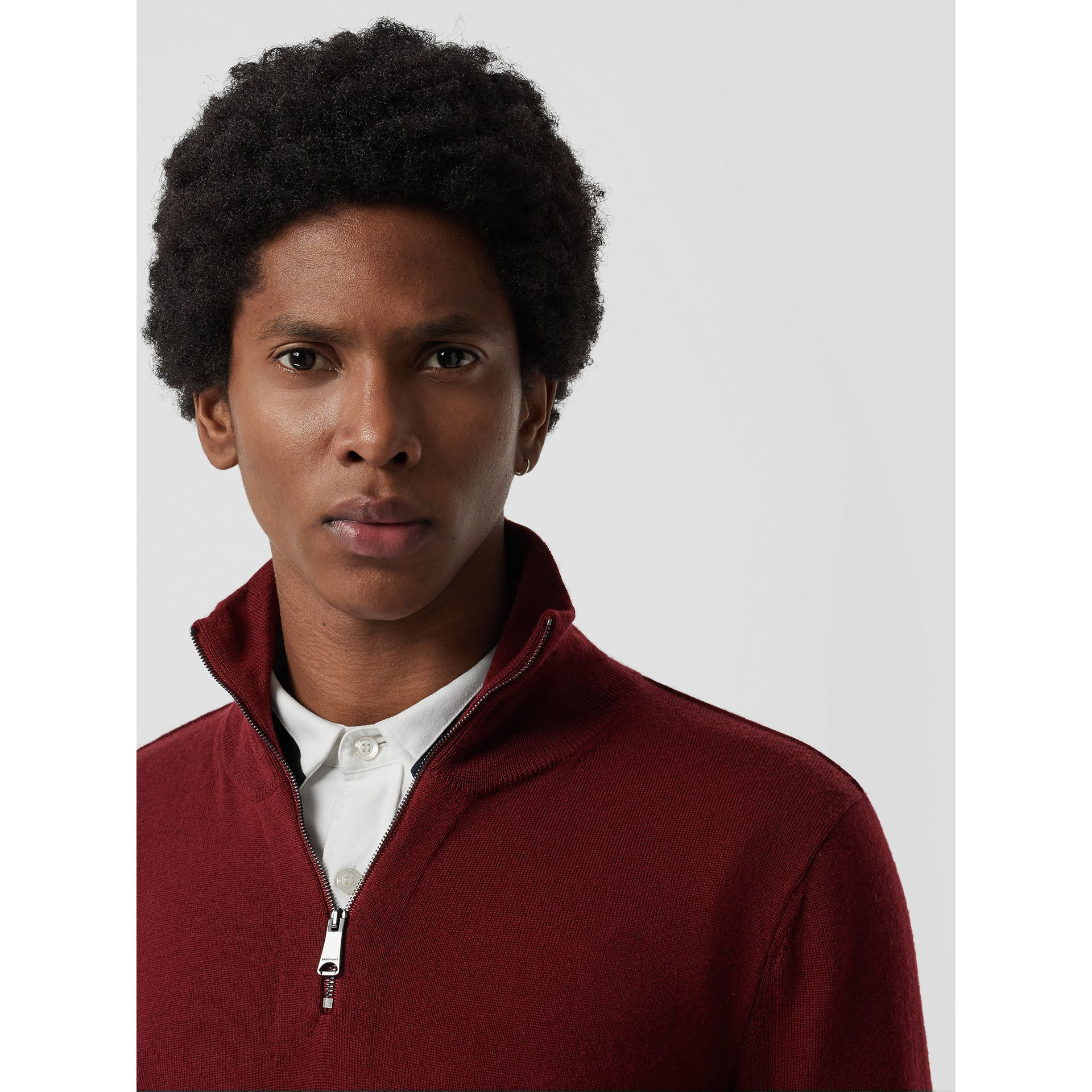 Merino Wool Half-zip Sweater in Burgundy - Men | Burberry Singapore - gallery image 1