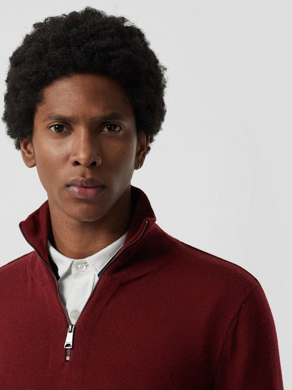 Merino Wool Half-zip Sweater in Burgundy - Men | Burberry Canada - cell image 1