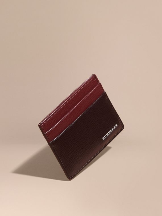 Two-tone London Leather Card Case Wine/burgundy Red