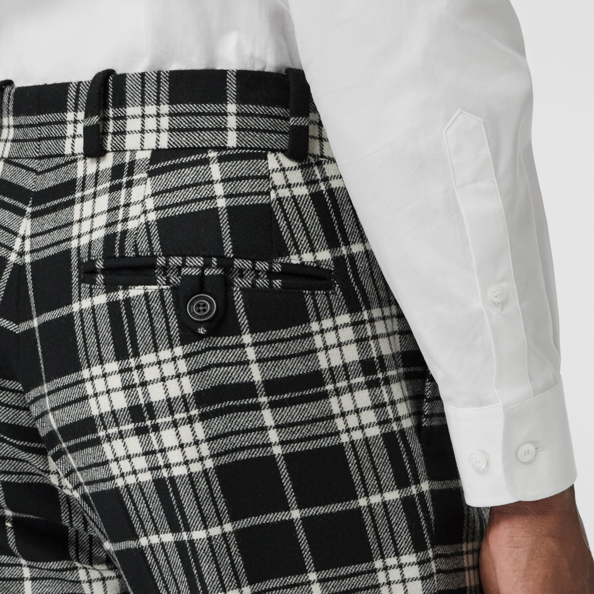 Slim Fit Tartan Wool Cashmere Tailored Trousers in Black - Men | Burberry Australia - gallery image 1
