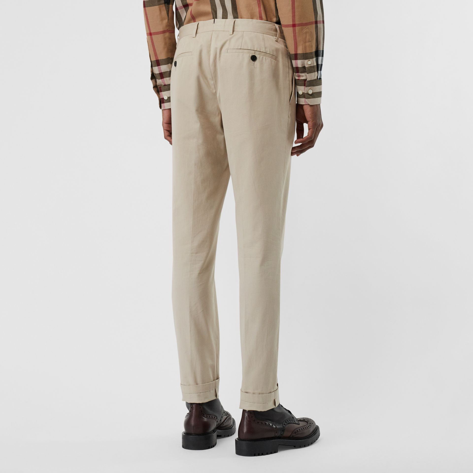 Slim Fit Cotton Blend Twill Chinos in Stone - Men | Burberry - gallery image 2