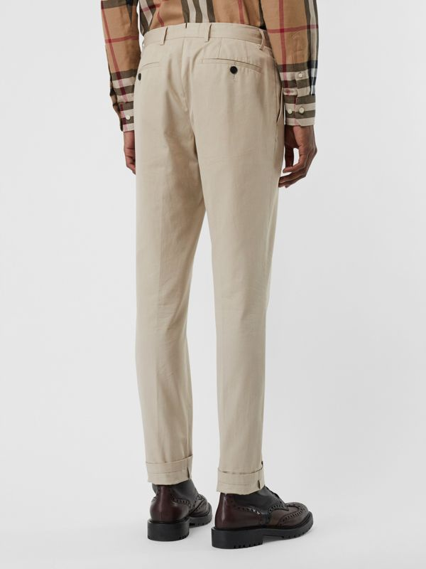 Slim Fit Cotton Blend Twill Chinos in Stone - Men | Burberry - cell image 2