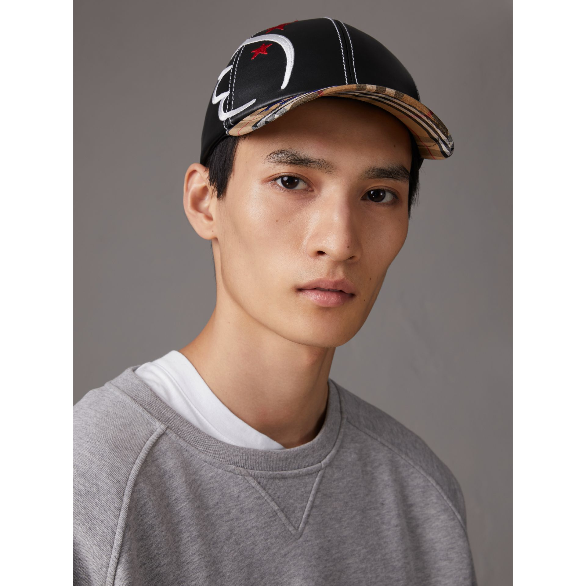 Burberry x Kris Wu Leather and Vintage Check Baseball Cap in Black/antique Yellow - Men | Burberry United States - gallery image 2
