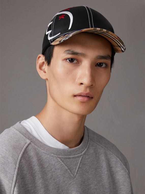 Burberry x Kris Wu Leather and Vintage Check Baseball Cap in Black/antique Yellow - Men | Burberry United Kingdom - cell image 2