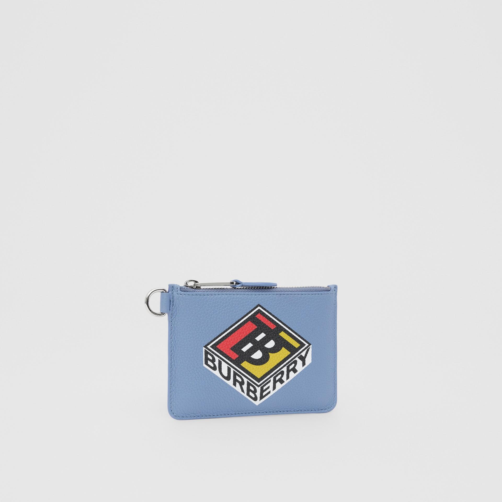 로고 그래픽 레더 지퍼 동전 케이스 (페일 블루벨) - 남성 | Burberry - 갤러리 이미지 4