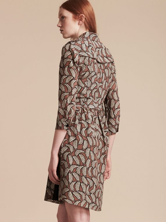 Pale pink Leaf Print Silk Trench Dress - cell image 2