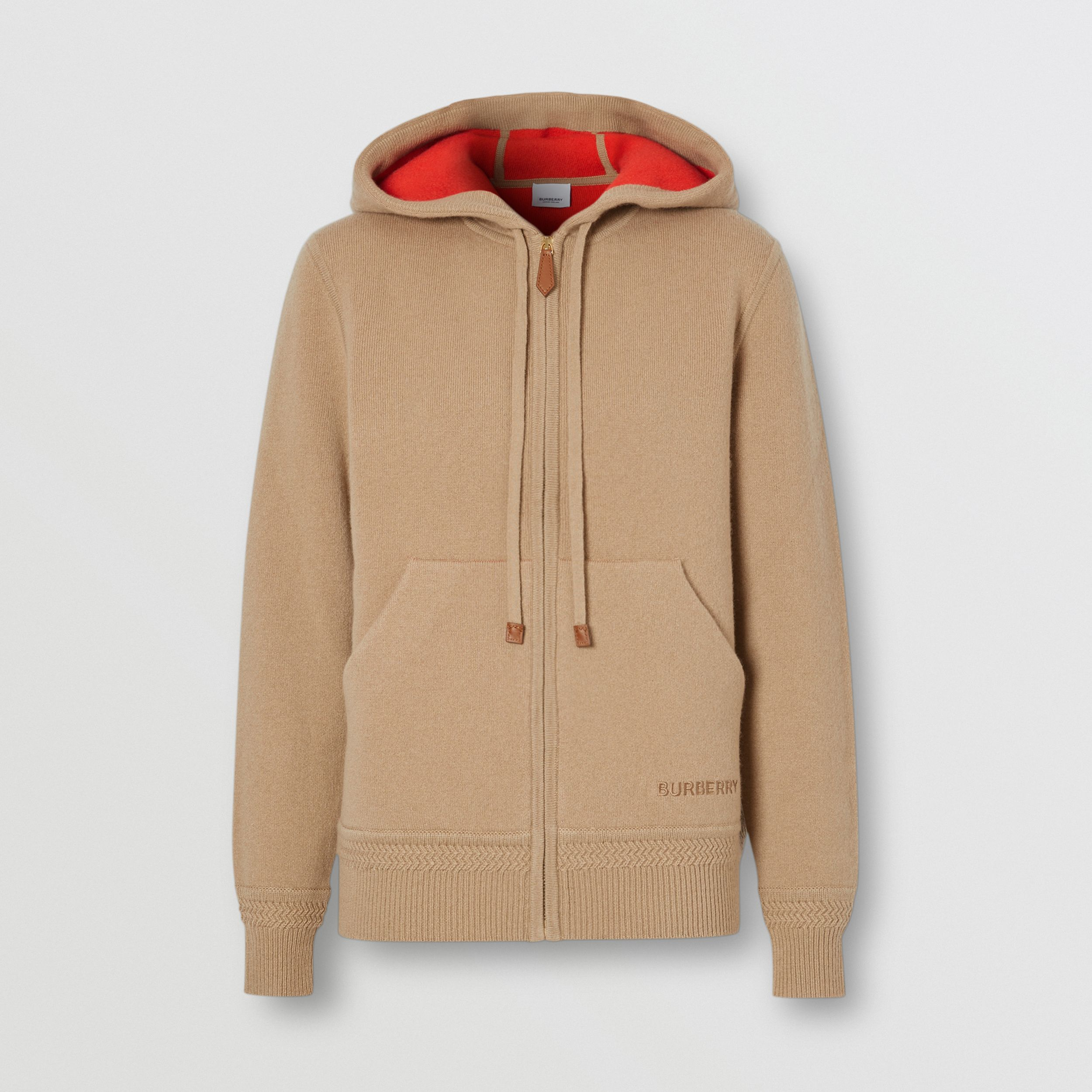 Embroidered Logo Cashmere Hooded Top in Archive Beige - Women | Burberry Australia - 4