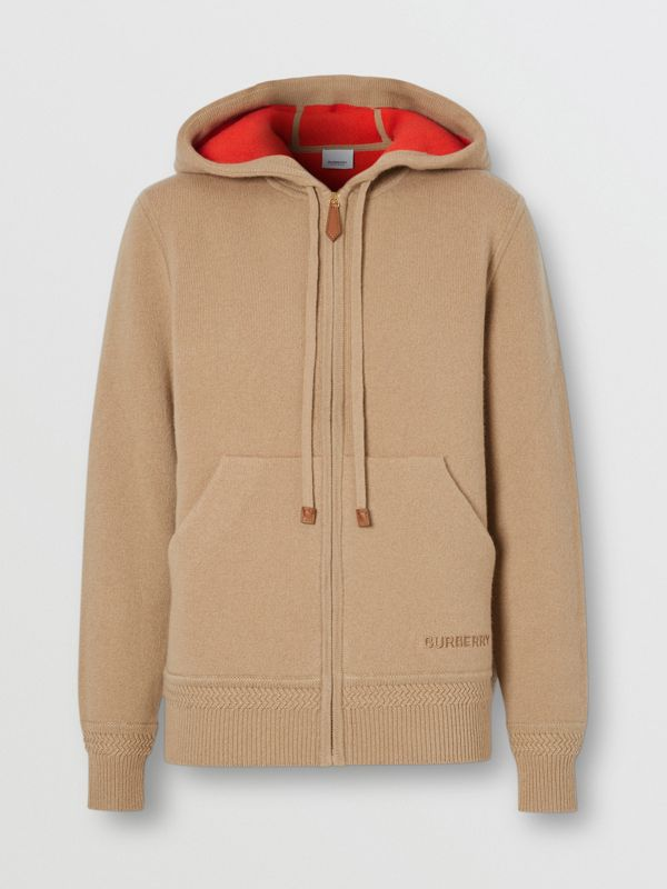 Embroidered Logo Cashmere Hooded Top in Archive Beige - Women | Burberry Hong Kong S.A.R - cell image 2