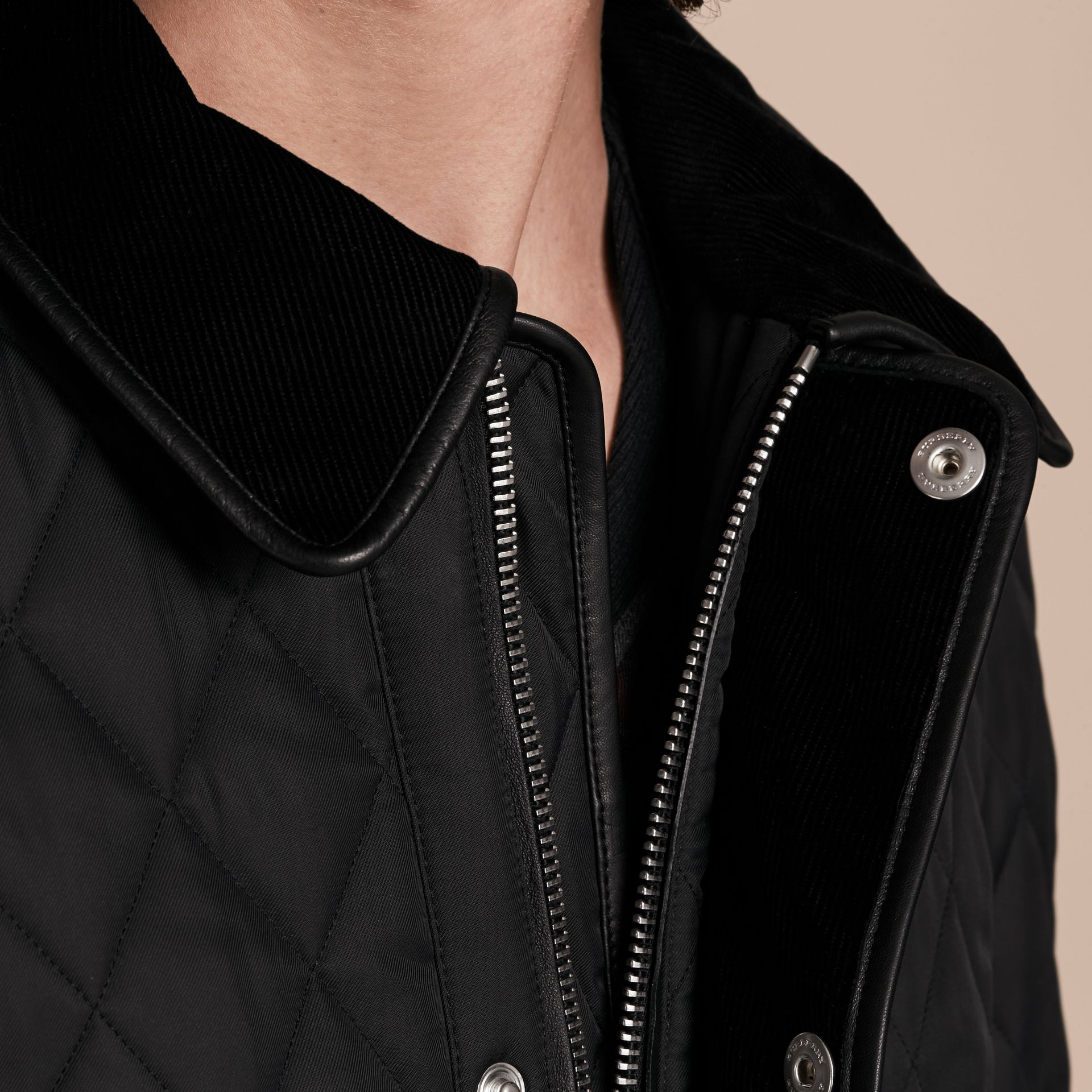 Leather Piping Corduroy Collar Quilted Jacket Black - gallery image 5