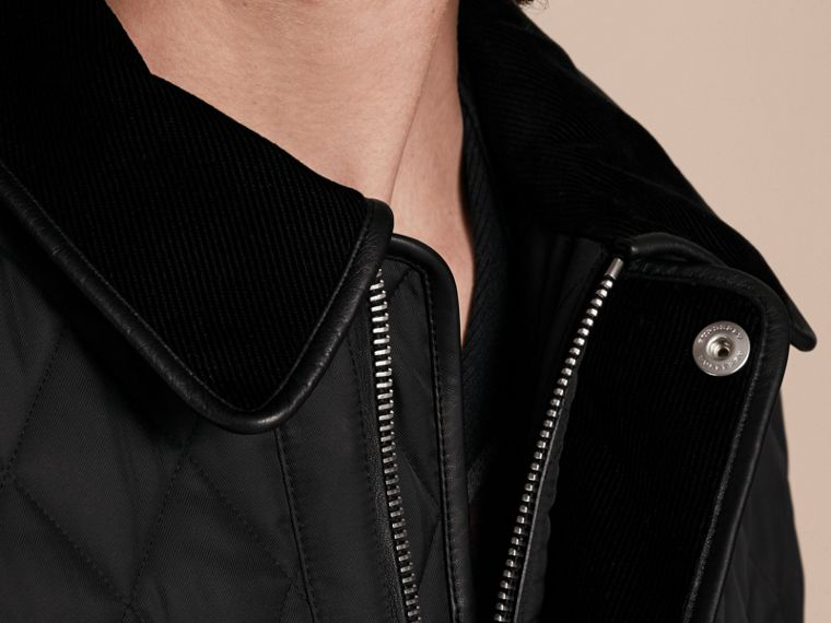 Leather Piping Corduroy Collar Quilted Jacket Black - cell image 4
