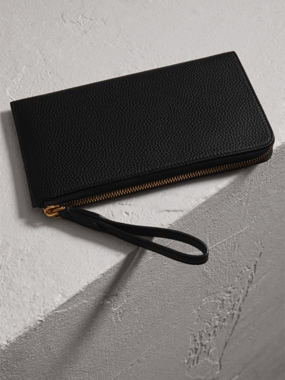 Embossed Leather Travel Wallet in Black | Burberry Australia - cell image 2
