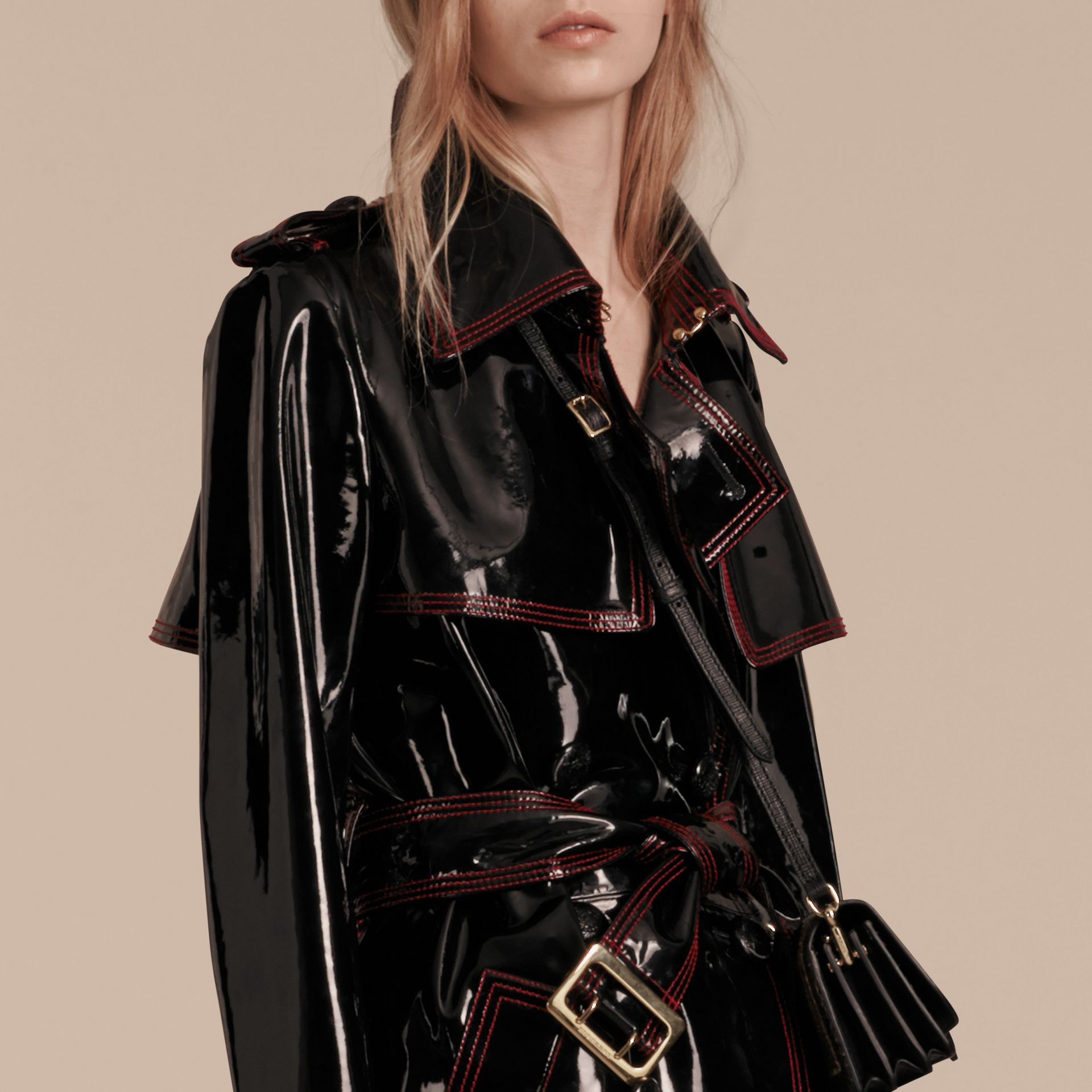 Black Unlined Patent Leather Trench Coat - gallery image 5