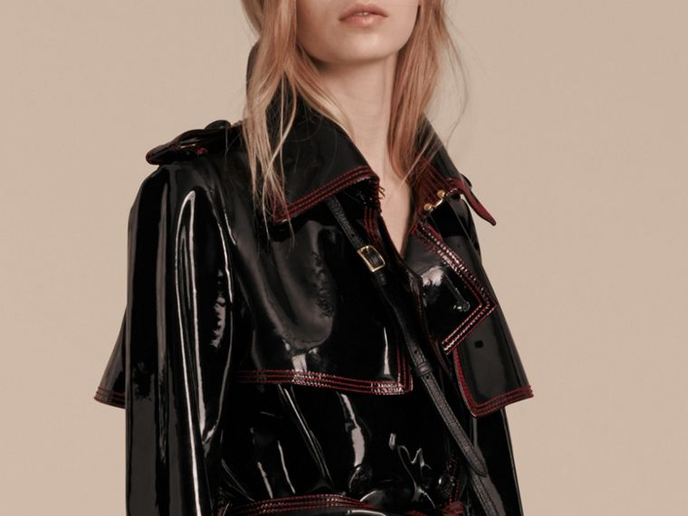 Black Unlined Patent Leather Trench Coat - cell image 4
