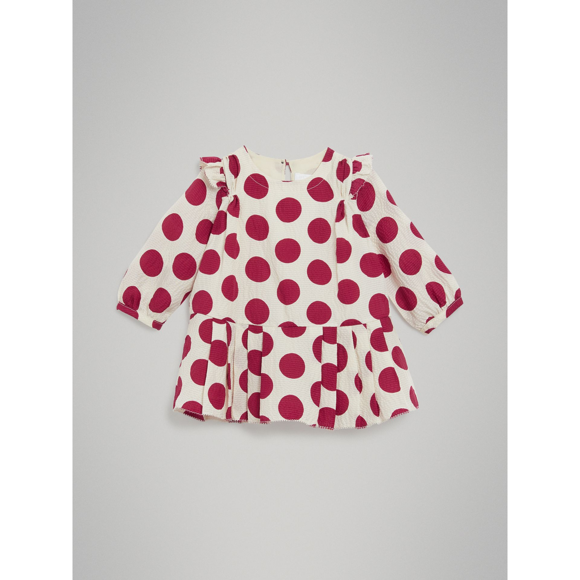 Polka Dot Print Silk Crepe Dress in Windsor Red - Children | Burberry Australia - gallery image 0