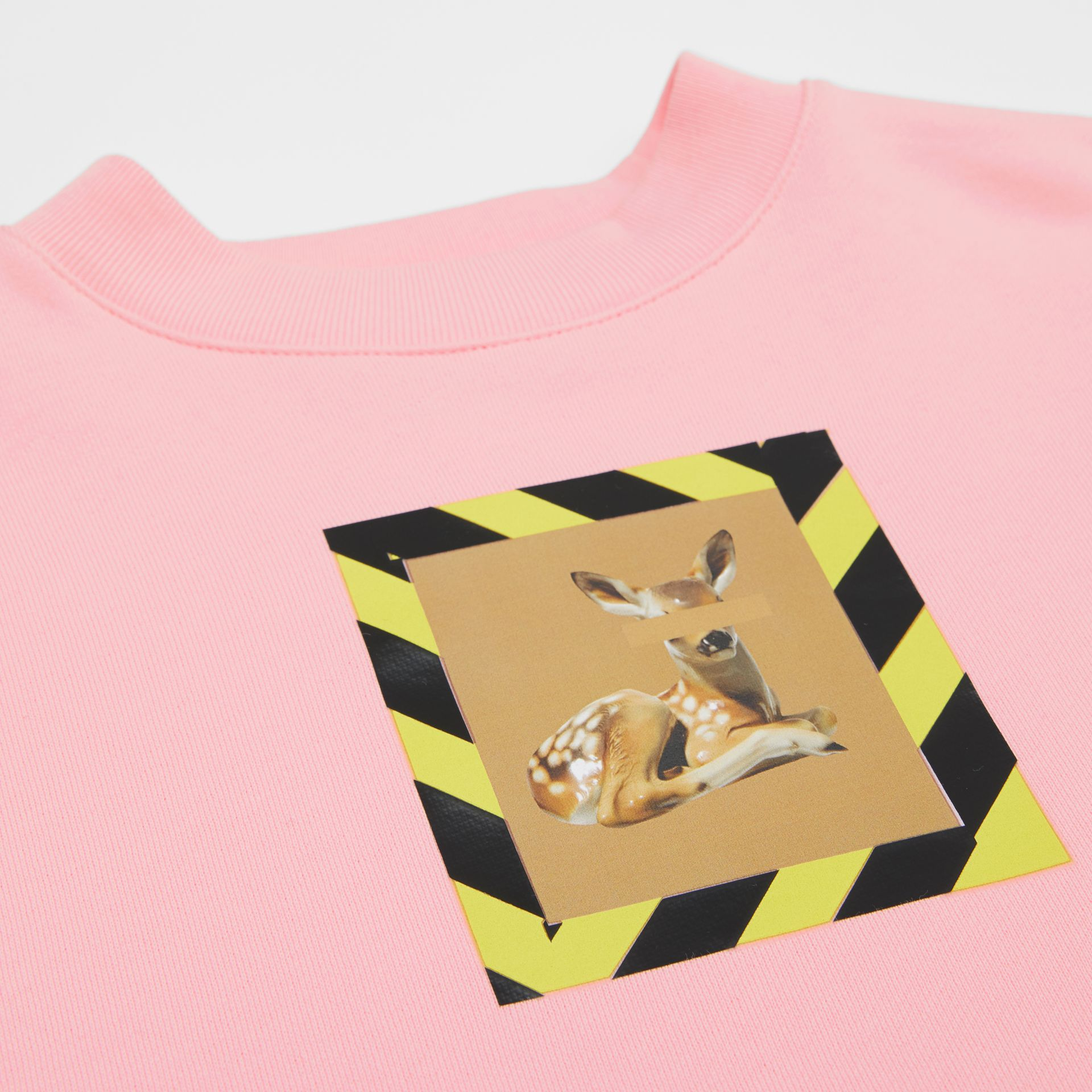 Deer Print Cotton Sweatshirt in Candy Pink | Burberry Australia - gallery image 1