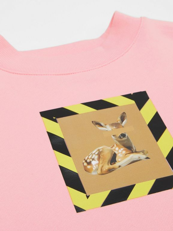 Deer Print Cotton Sweatshirt in Candy Pink | Burberry - cell image 1