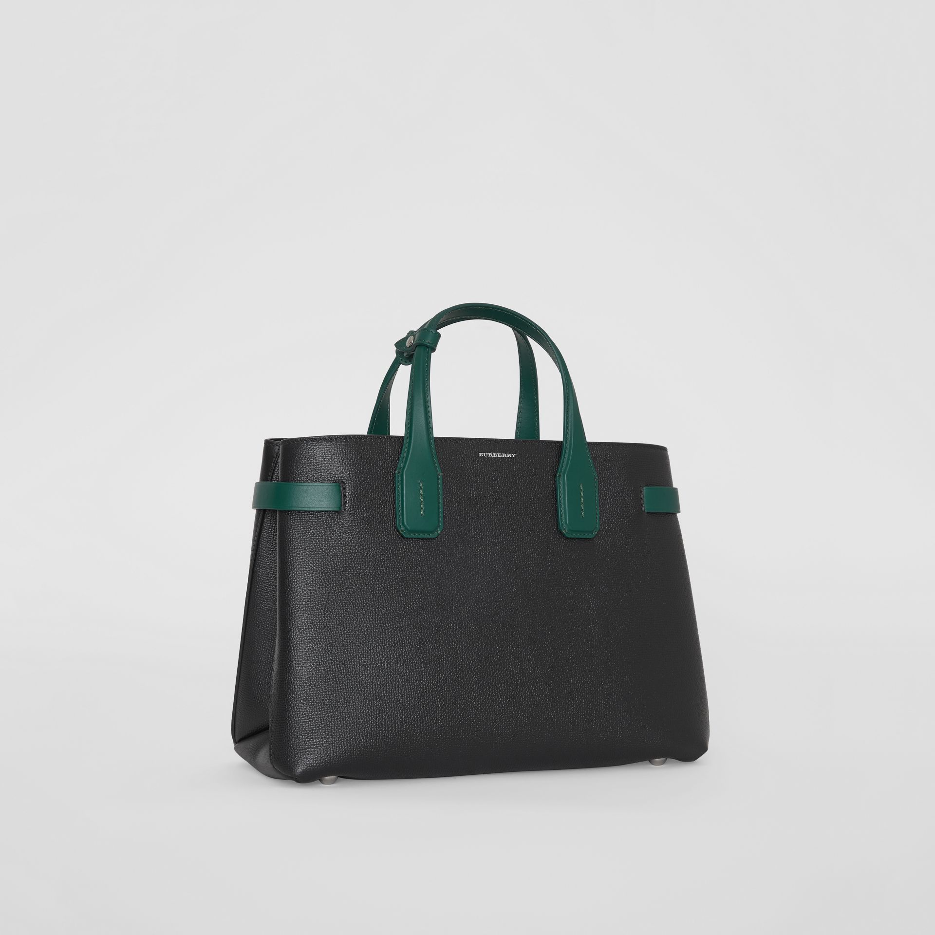The Medium Banner in Two-tone Leather in Black/sea Green - Women | Burberry United States - gallery image 6