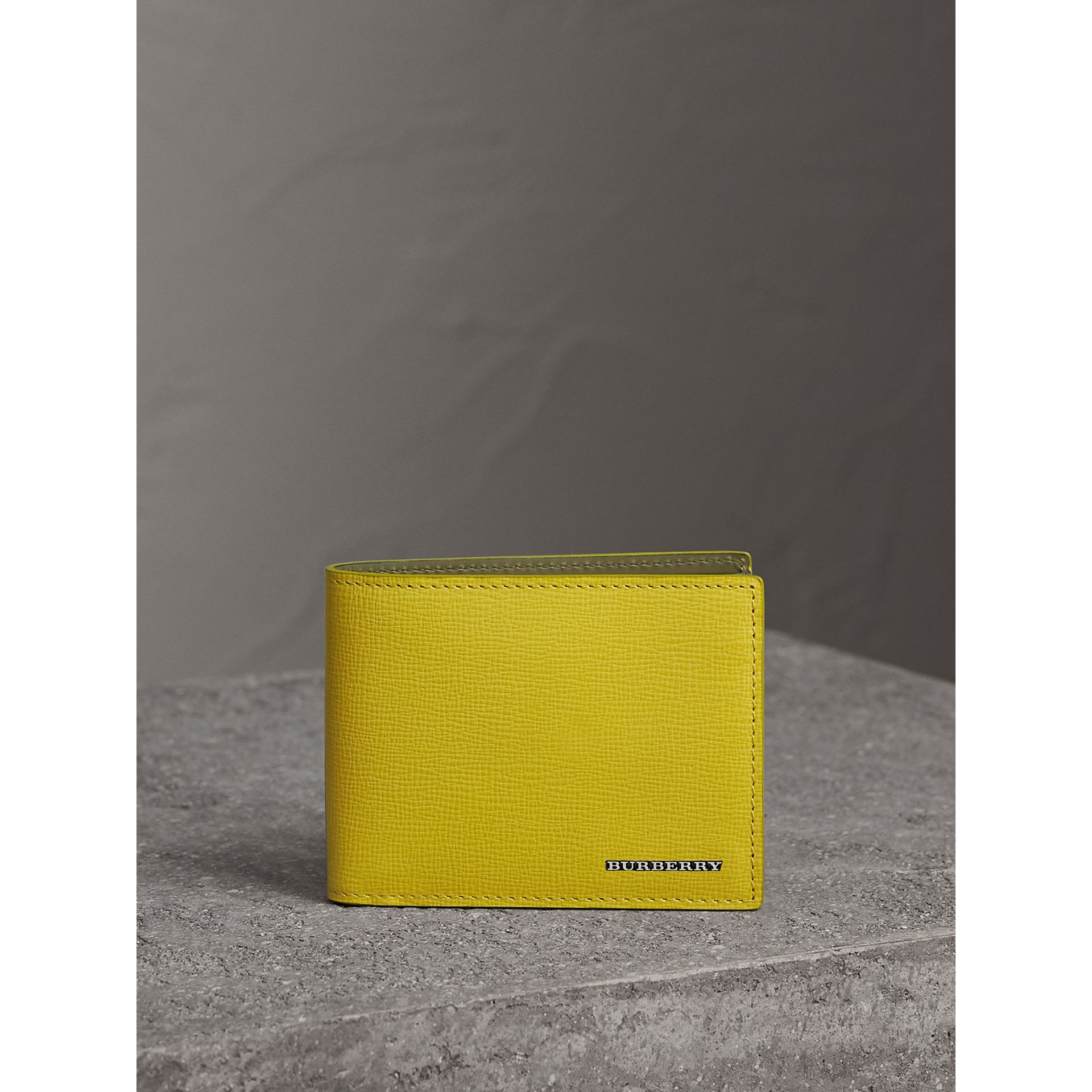London Leather Slim Folding Wallet in Bright Citrus | Burberry Australia - gallery image 6