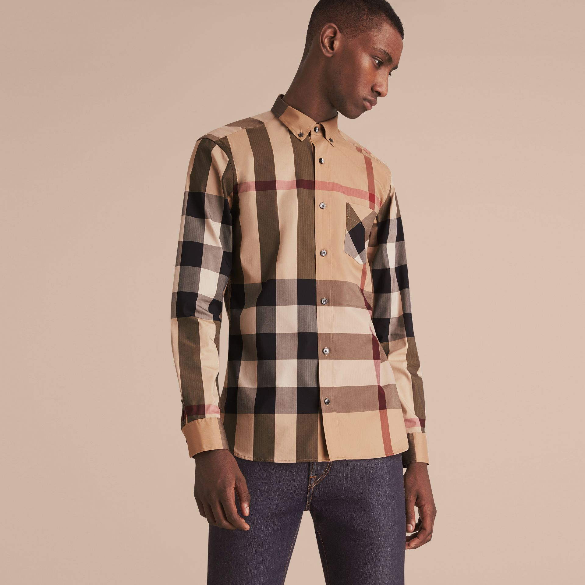 Button-down Collar Check Stretch Cotton Blend Shirt in Camel - Men | Burberry - gallery image 6