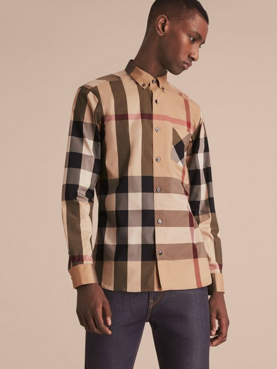 Button-down Collar Check Stretch Cotton Blend Shirt in Camel - Men | Burberry Australia