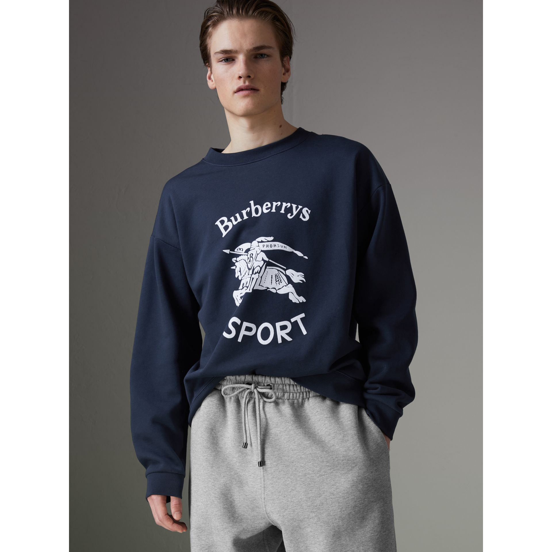 Reissued Jersey Sweatshirt in Navy Blue - Men | Burberry - gallery image 4