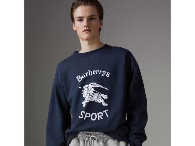 Reissued Jersey Sweatshirt in Navy Blue - Men | Burberry - cell image 4