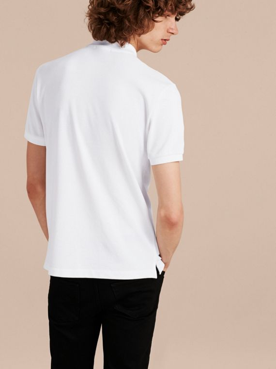 Check Placket Cotton Piqué Polo Shirt in White - cell image 2