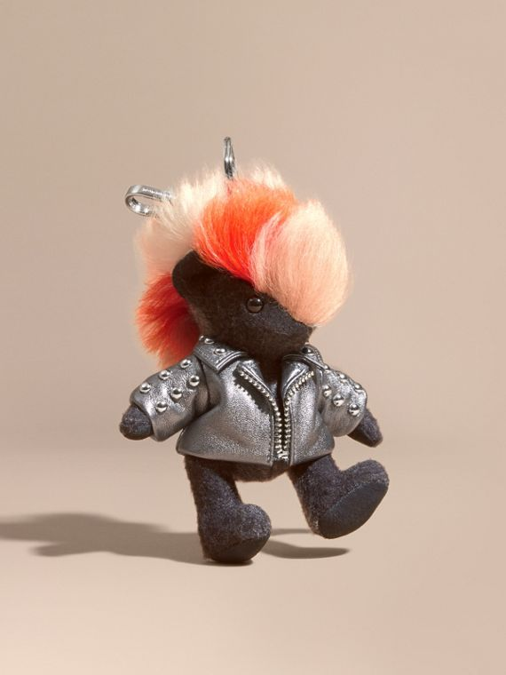 The Punk Thomas Bear Charm in Studded Lambskin Charcoal
