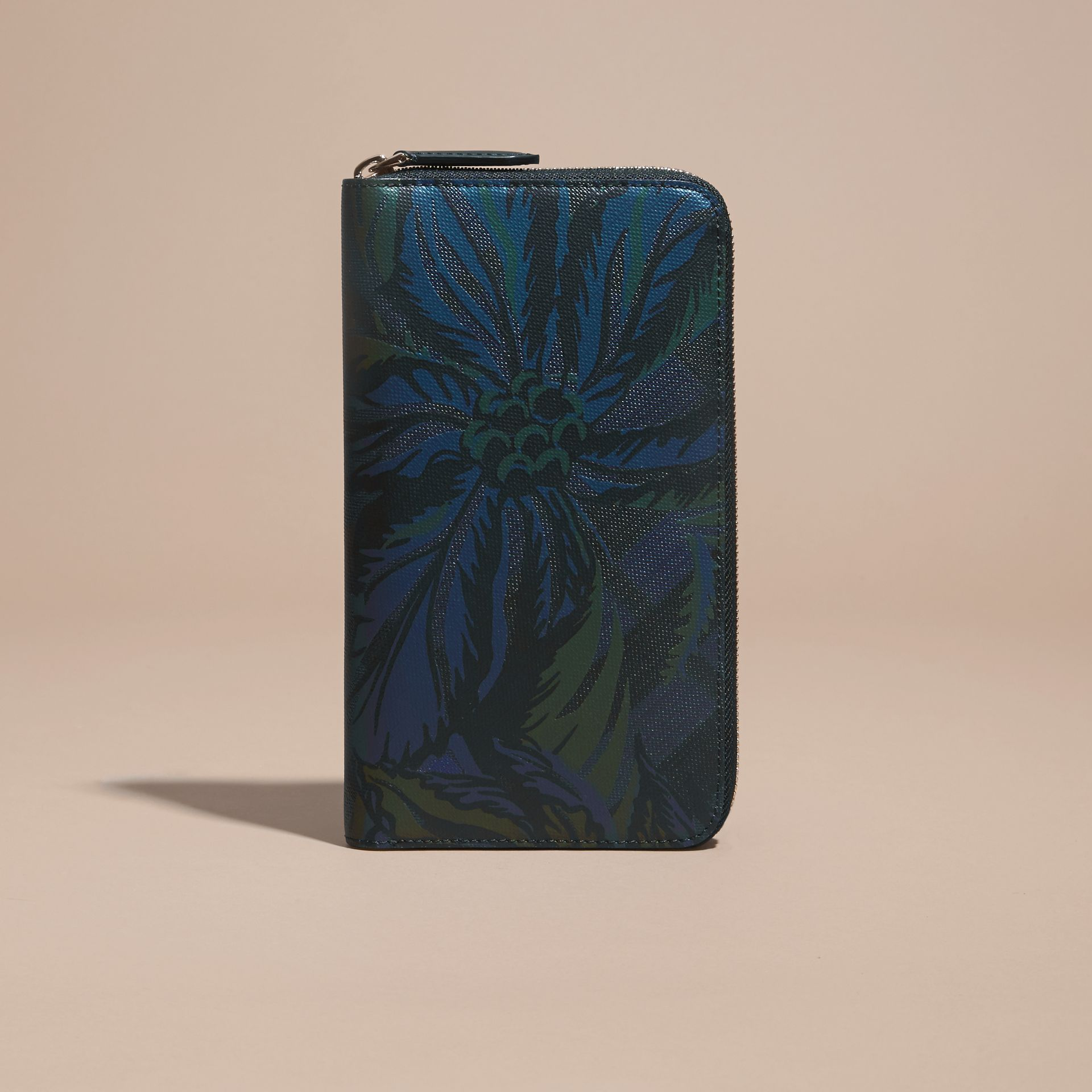 Floral Print London Check Ziparound Wallet Navy - gallery image 6