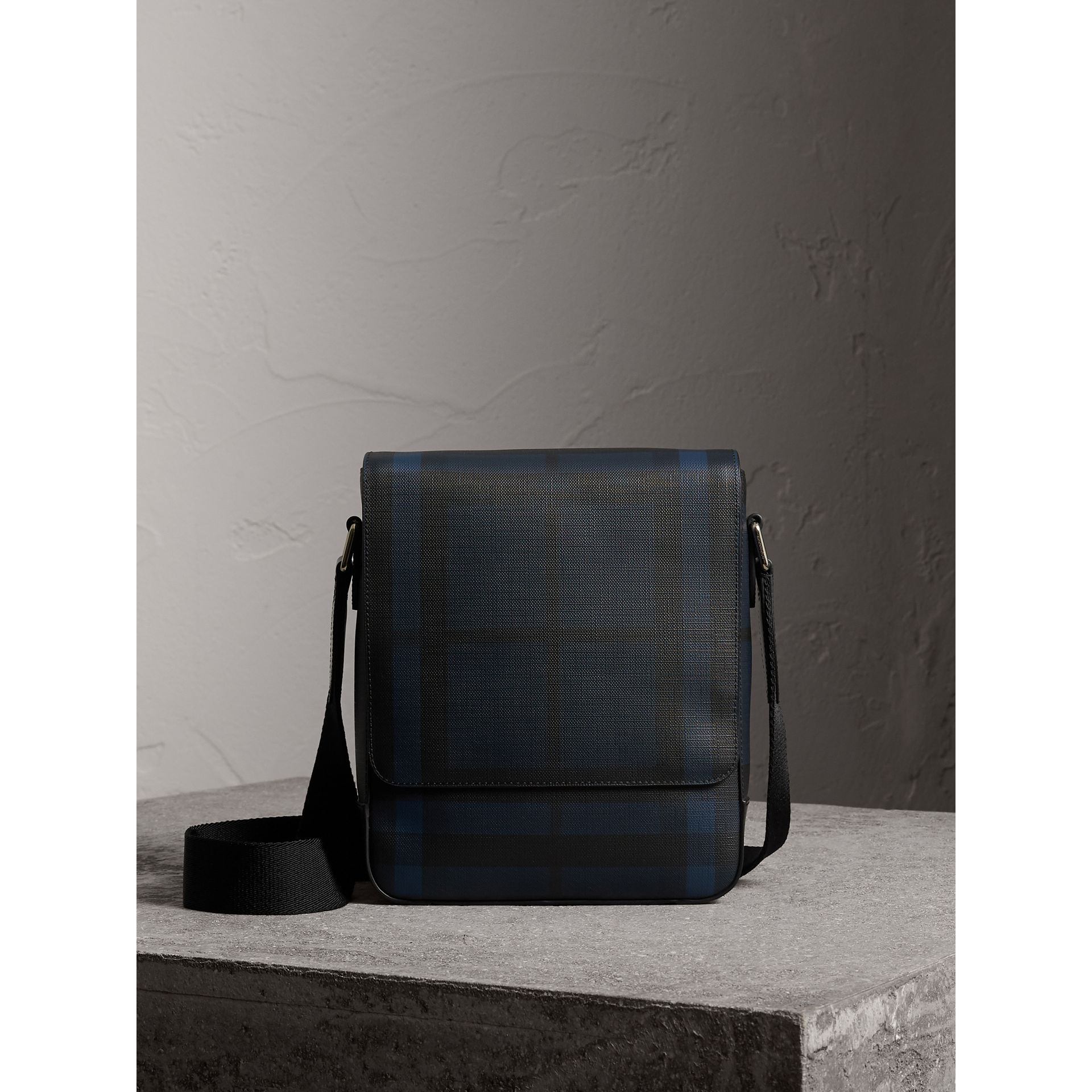 London Check Crossbody Bag in Navy/black - Men | Burberry - gallery image 0