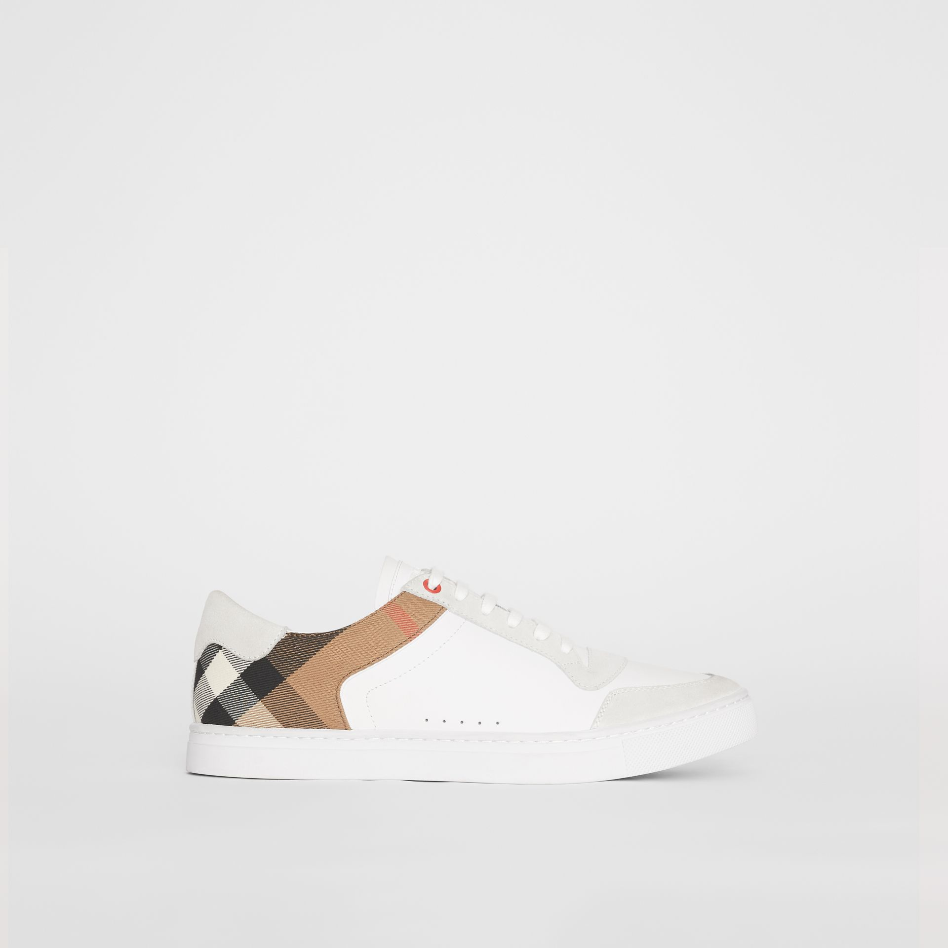 Leather and House Check Sneakers in Optic White - Men | Burberry Canada - gallery image 5