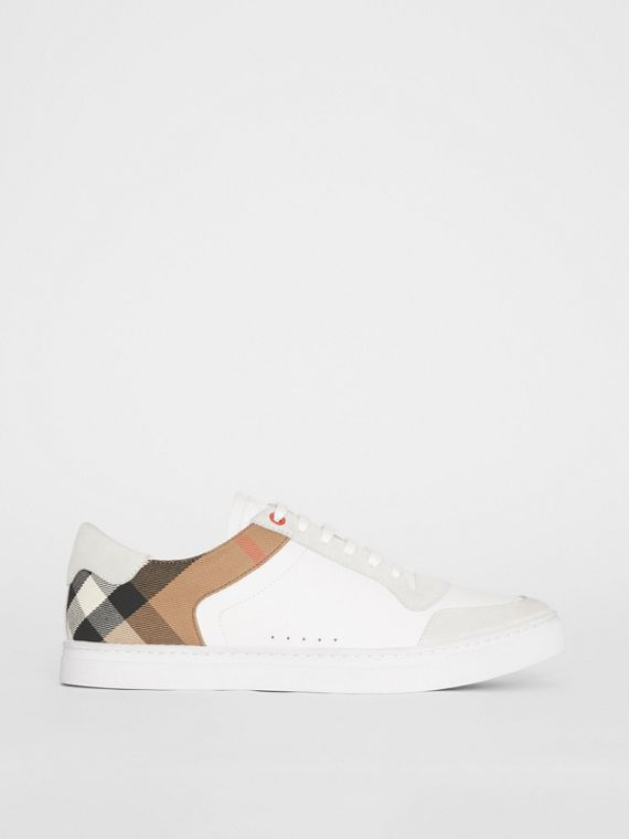 Leather and House Check Sneakers in Optic White