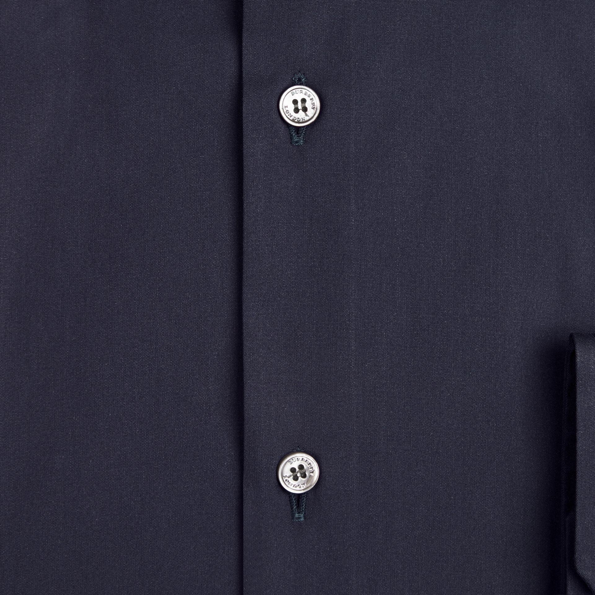 Modern Fit Stretch Cotton Shirt in Navy - Men | Burberry - gallery image 2