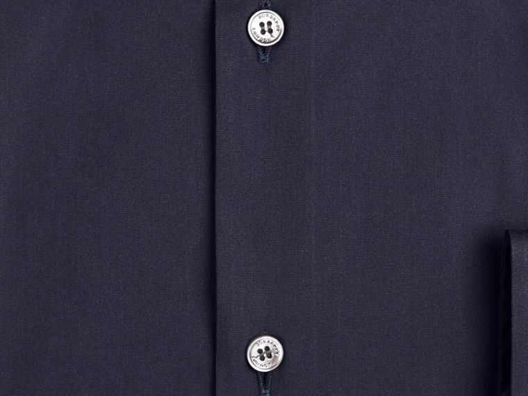 Modern Fit Stretch Cotton Shirt in Navy - Men | Burberry Singapore - cell image 1